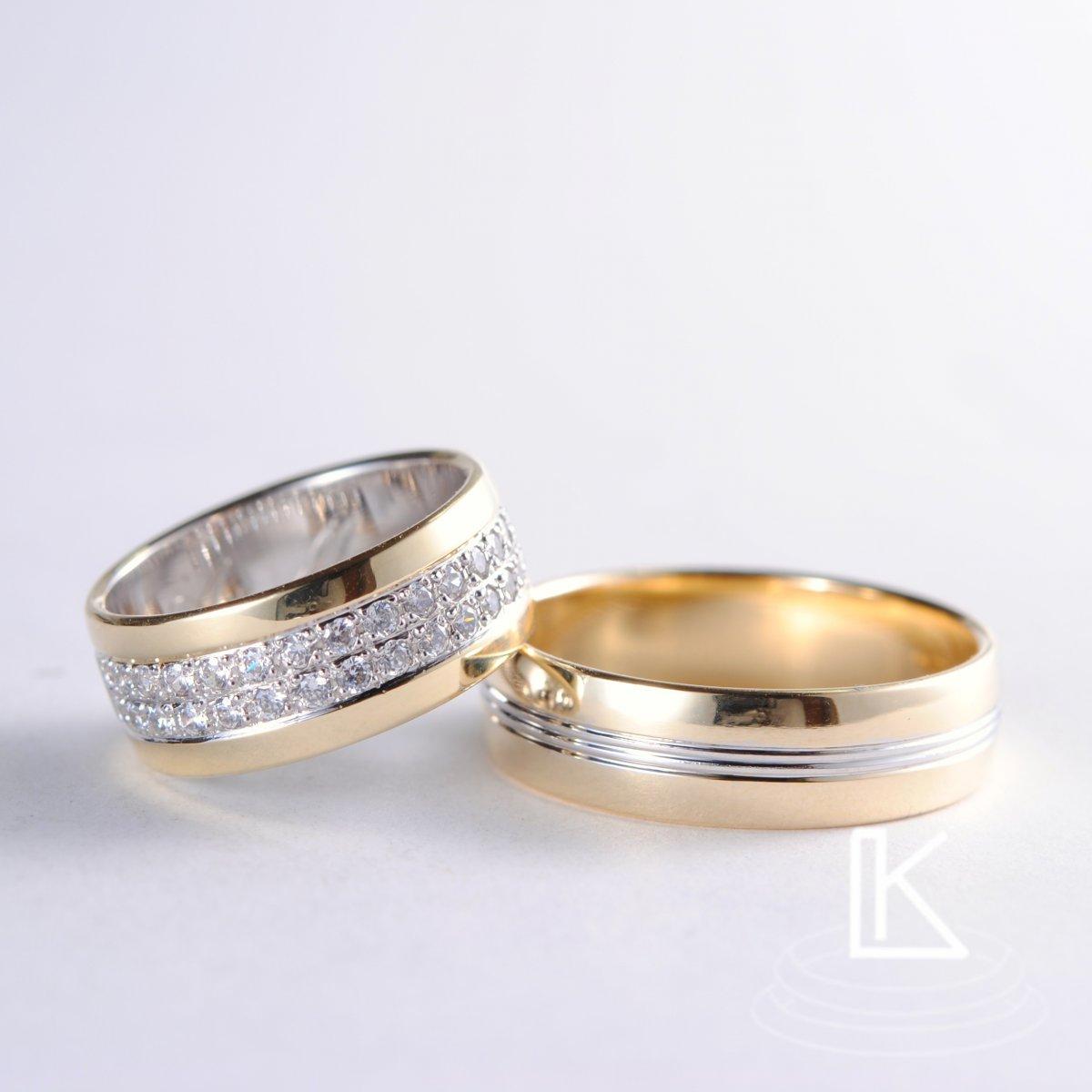 Wedding Rings With Two Rows Of Zircons Ladislav Kouril