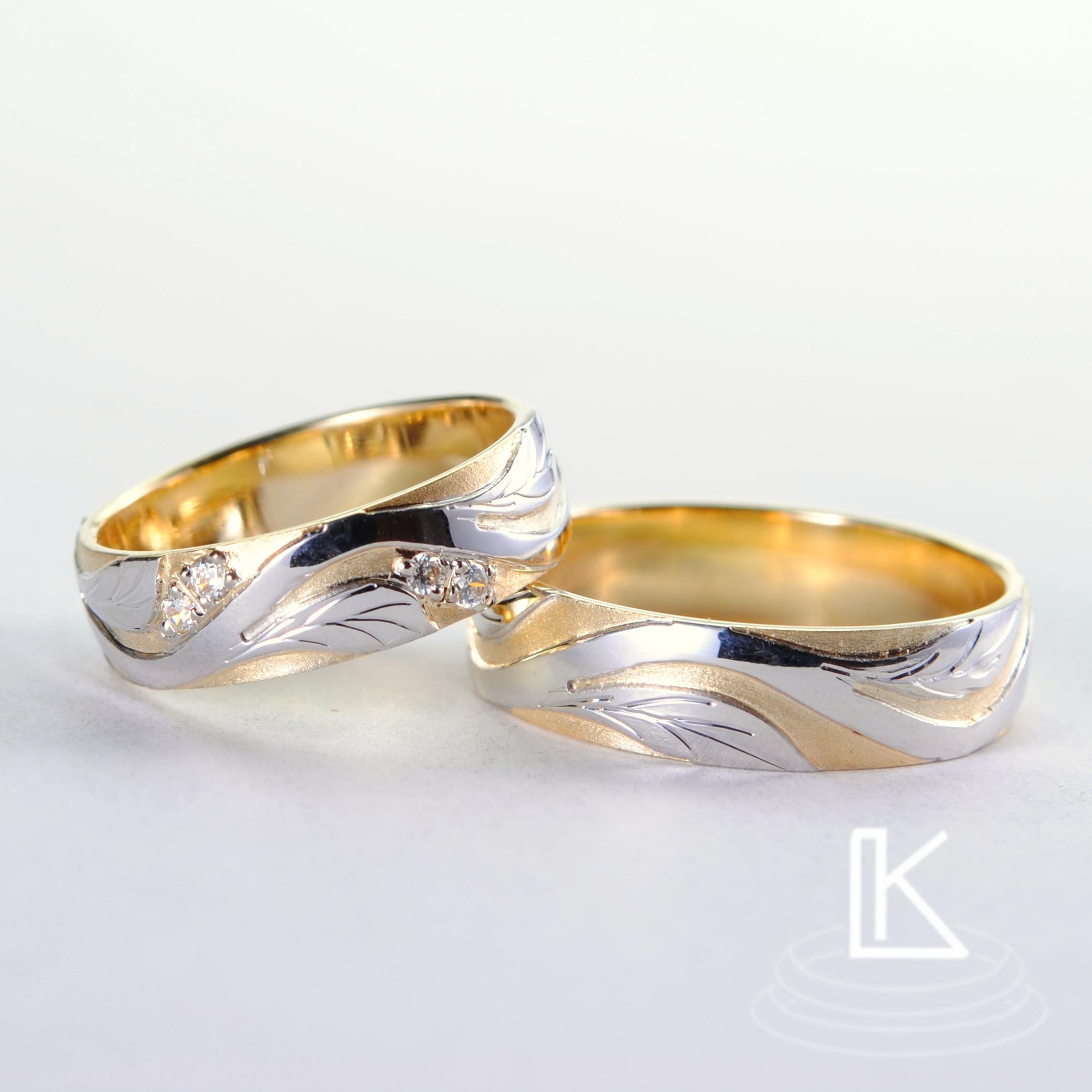 Snubní prsteny č. 15 s motivem plastické větvičky z bílého zlata
