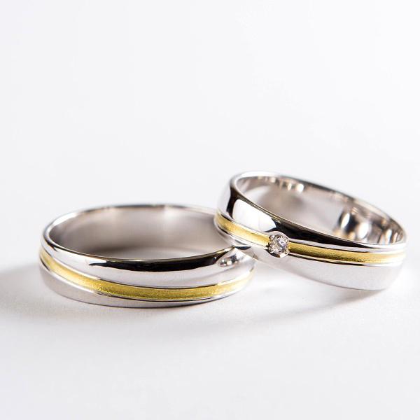 Snubní prsteny č. 2 s matovanou šikmou drážkou